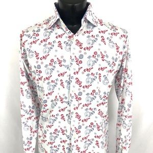 TAILORBYRD Button Up Shirt White Paisley Cotton XL